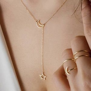 Moon and Stars Trendy Gold Necklace